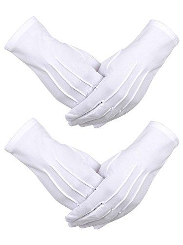 2 Paar Weiße Nylon Baumwolle Handschuhe mit Snap Verschluss für Polizei formale Tuxedo Ehrenwache Kostüm Parade Handschuhe, 9,05 Zoll