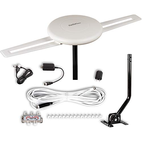 Five Star [Newest 2020] HDTV Antenna - 360° Omnidirectional Amplified Outdoor TV Antenna up to 150 Miles Indoor/Outdoor,RV,Attic 4K 1080P UHF VHF Supports 4TVs Installation Kit & Mounting Pole