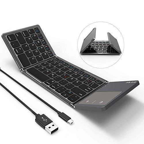 Jelly Comb Bluetooth Tastatur mit Touchpad, Dual-Modus Wired und Bluetooth Tastatur faltbar, QWERTZ Layout Mini klappbare Tastatur für Tablet, Handy, Laptop(Grau)