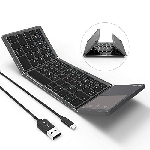 Jelly Comb Bluetooth Tastatur mit Touchpad, Faltbare Ultra-Dünne Dual-Modus Wired und Bluetooth Tastatur [QWERTZ Layout], Grau
