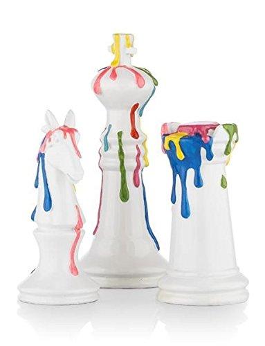 """COCOMaison """"Schachfiguren im 3er Set, Statuen als Dekoration, Schach Skulpturen in modernem Design, bunt - Handbemalt, Skulptur aus Polyresin, Chess Sculpture"""