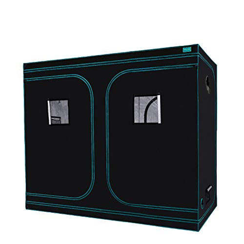 """OPULENT SYSTEMS 96""""x48""""x80"""" Hydroponic Mylar Water-Resister Grow Tent Reflective Garden Growing Dark Room with Observation Window, Removable Floor Tray and Tool Bag for Indoor Plant Growing 4'X8'"""