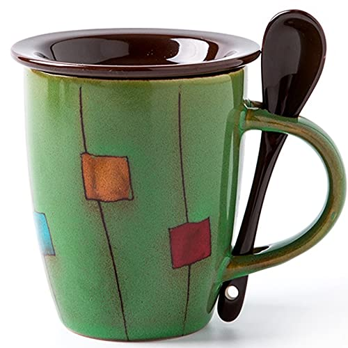 Taza de café de 350ml con asa, Taza de café de Porcelana para té, Cacao, Cereales Taza de cerámica con patrón Creativo Regalo de vajilla para el día de la Madre, día del Padre, cumpleaños.