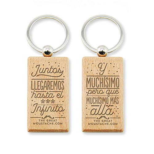 Llaveros Para Parejas Casa Madera Marca THE GREAT MOUSTACHE