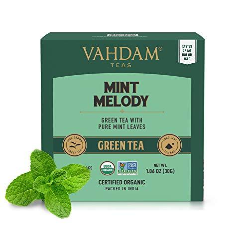 VAHDAM, té verde menta, (30 bolsitas de té) | JARDIN FRESCO menta Bolsa de te verde | TÉ VERDE DE HOJA LARGA Hojas | 100% NATURAL de menta y hojas de menta | 15 bolsitas de té Pirámide menta