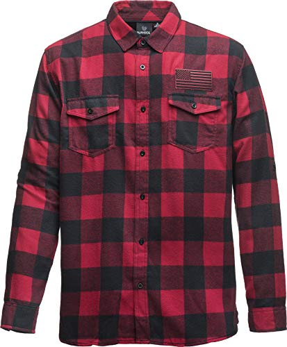Flanell-Hemd - USA Flagge - Stick Patch - Freizeithemd Karo Kariert Kariertes - Holzfällerhemd - Herrenhemd - Langarm Sweat-Shirt - Arbeitshemd - Jacke Lumberjack Retro US Fahne Urban (XL)