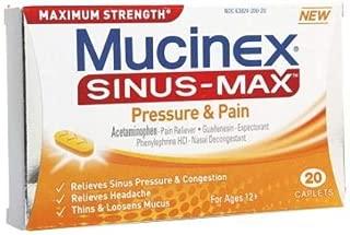Mucinex Sinus-Max Pressure, Pain & Cough Maximum Strength Caplets- Sinus Pressure, Congestion & Headache Relief, Expectorant & Decongestant With Acetaminophen, Guaifenesin & Phenylephrine, 20 Caplets