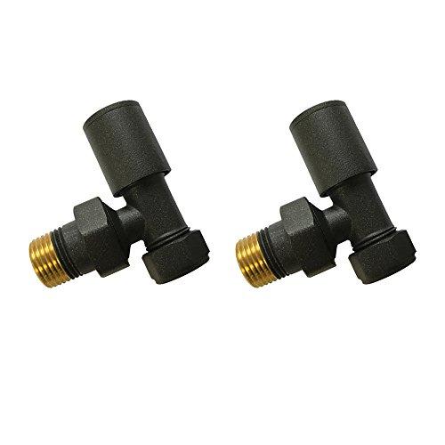 Home Standard® - Válvulas angulares Antracita para radiadores y toalleros (2 Unidades), para toalleros eléctricos y radiadores de calefacción Central