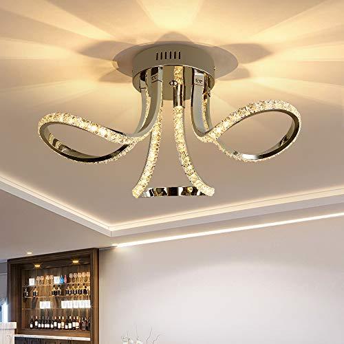 65W Plafoniera In Cristallo, Lampadario Di Cristallo Creativo Moderno, Design in Alluminio, Per Corridoi Di Decorazione Artistica, Camere Da Letto, Aule Studio (Luce calda 3000K)