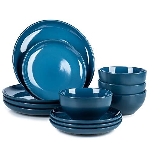 Dinnerware Set Choice of Colours - Ceramic Amalfi Kitchen Dinner Set - 4 Bowls 4 Side-Plates 4 Plates (Teal, 12 Piece Set)