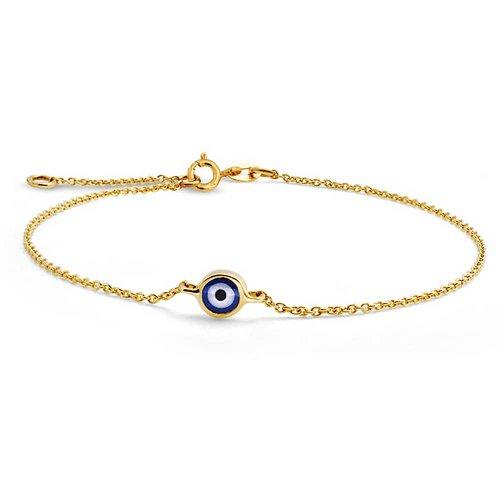 Bling Jewelry Turco Minimalista Oro De 14K Real Mal De Ojo Azul Charm Brazalete Pulsera para Adolescentes, para Mujer con Ensanchador