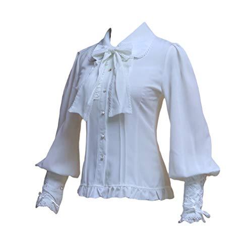 Mxssi Gericht Stil Vintage Lolita Prinzessin Bluse Viktorianischen Königlichen Gotischen Bogen Knoten Chiffon Retro Langarm Shirt Tops