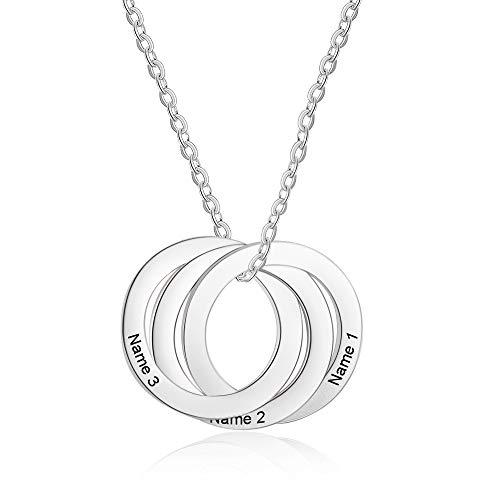XiXi Collar Plata Colgante con 3 Nombre Personalizados BFF Collar Regalo para Familia Madre Cumpleaños día de la Madre
