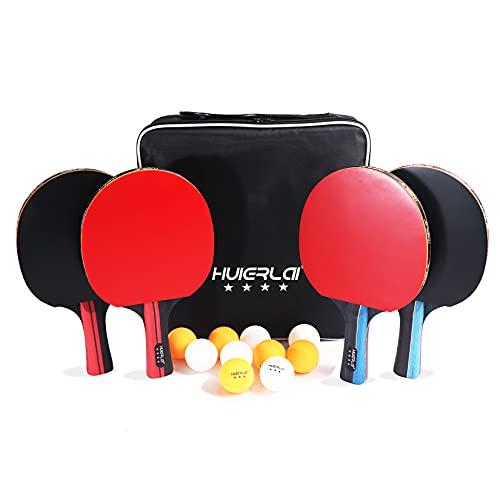 Sets de Ping Pong - 4 Raquetas de Tenis de Mesa + 4 Pelotas Ping Pong + 1 Bolso, Juego de Palas de Ping Pong Ideal para Principiantes, Aficionados, Profesionales, familias, Actividades de Ocio
