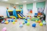 Poster-Bild 80 x 50 cm: 'Interior of room, inflatable trampoline, kids birthday or party', Bild auf...