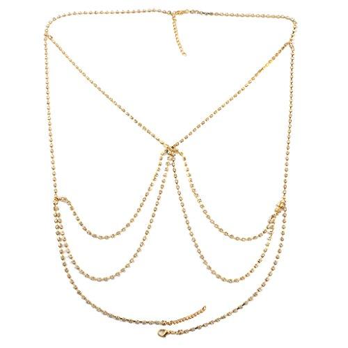 Non-brand Regalo de La Joyería de Fantasía del Rhinestone Cristalino de La Cadena del Tamaño de La Muchacha de Las Mujeres - Oro
