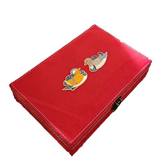EHDFS Caja de joyería bordada vintage grande rojo Joyero El mejor regalo para recién casados 