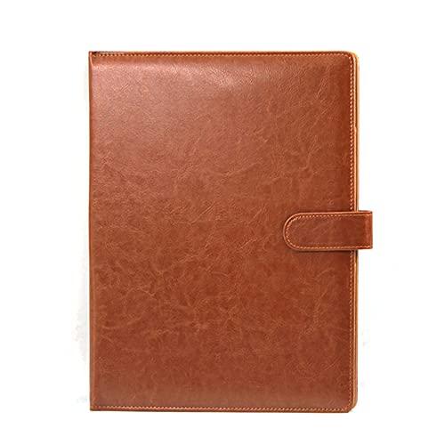 A4 Portapapeles Carpeta Portafolios Multifunción Organizadores de Cuero robustos Multi Funciones Cuadernos Papelería Nota de Regalo Pad (Color : Brown)