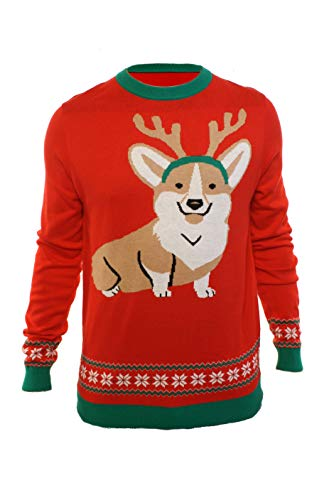 Men's Corgi Dog with Antlers Ugly Christmas Party Sweater