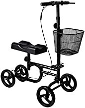 Give Me Knee Scooter All Terrain Dual Braking System Foldable Steerable Knee Walker for Broken Leg, Foot, Ankle Injuries - Crutch Alternative in Black
