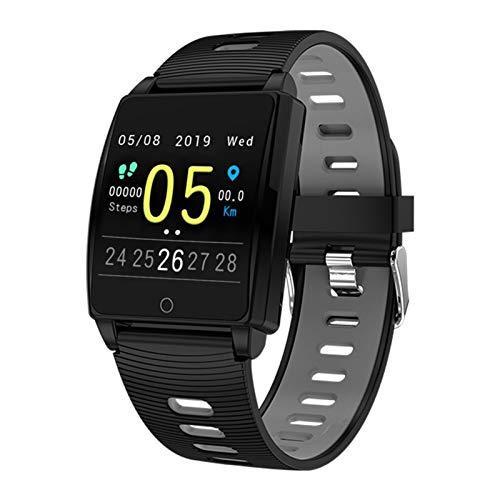 LYB Reloj inteligente Android IOS Pulsera de ritmo cardíaco presión arterial Fitness Cronómetro de cuenta regresiva, color resistente al agua, banda deportiva (color gris)