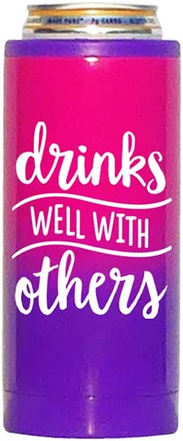 Slim Can Cooler | Ombre Dipped Stainless Steel, with Funny Sayings (Drinks Well)