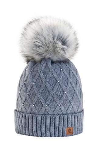 MFAZ Morefaz Ltd Mujer Sombrero De Invierno Cristales Beanie Gran Pom Pom Crystal Gorro De Invierno Cálido Forro Polar (Grey)