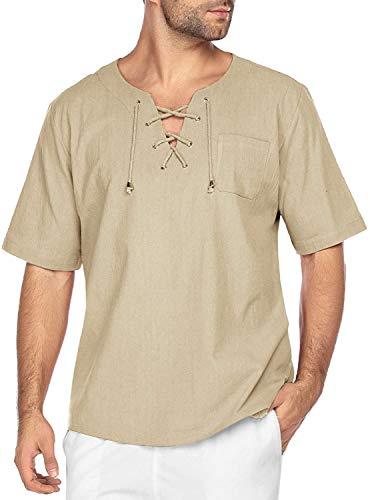 COOFANDY Herren Hemd Kurzarm Leinenhemd Sommer Freizeit Men´s Shirt Regular Fit Kragenloses Shirt Bequem Atmungsaktives