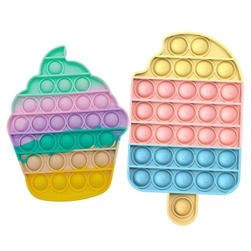 Bubble Fidget Toy Sensorial Alivio del estrés para necesidades especiales de Autismo   Juguetes para Aliviar la ansiedad extrusión para adultos y niños (Set de helado)