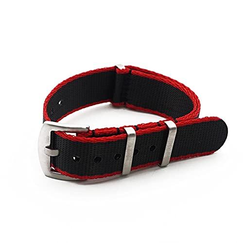 LINMAN Gray/Khaki Nylon Nylon Strap 20mm 22mm Zulu WatchBand Hombres Pulsera Universal accesorie (Band Color : Black Red Edge, tamaño : 22mm)