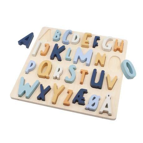 Puzzle de madera ABC en azul vaquero para niños, 30 x 30 cm, adecuado a partir de 4 años