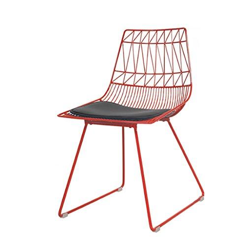 Nordic ins métal treillis métallique chaise chaise à la maison en fer forgé retour loisirs chaise taille: 60 * 47 * 84cm (Couleur : Red)