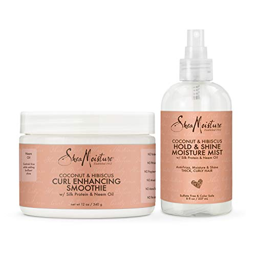 SheaMoisture Bundle Styling Cream Curly, Frizzy Hair Coconut & Hibiscus Curling Cream for Natural Hair 12oz, 8oz