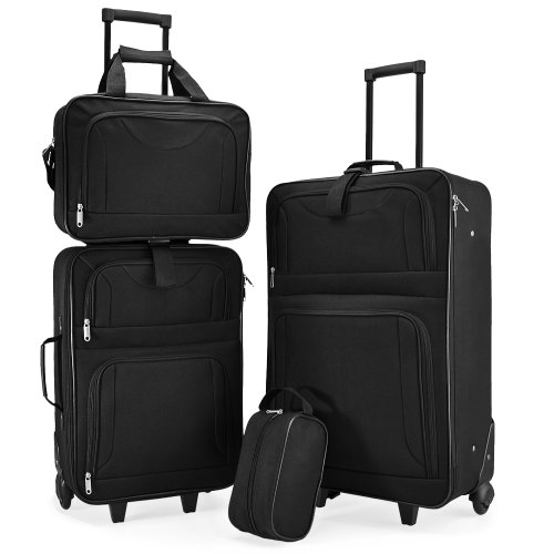 Ensemble de Valises avec 4 Elements empilables - Valises sac et trousse de Voyage - Trolleys Noir
