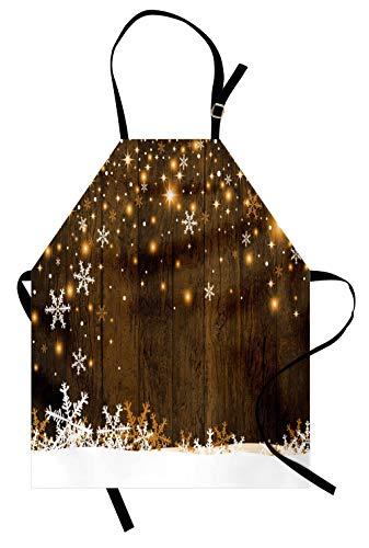 ABAKUHAUS Natale Grembiule, Legno e Fiocchi di Neve, Comodo per la Cucina Unisex con Collo Regolabile per Cucinare Cuocere Arrostire e Giardinaggio, Marrone Bianco