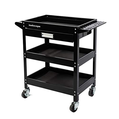 TODOCOPE 350 lbs Capacity 3-Shelf Tool Cart with Steel Sliding Drawer and Tool Hanging Board, Industrial Commercial Service Cart with Wheels, Steel Utility Mobile Storage Cabinet Organizer Trolley