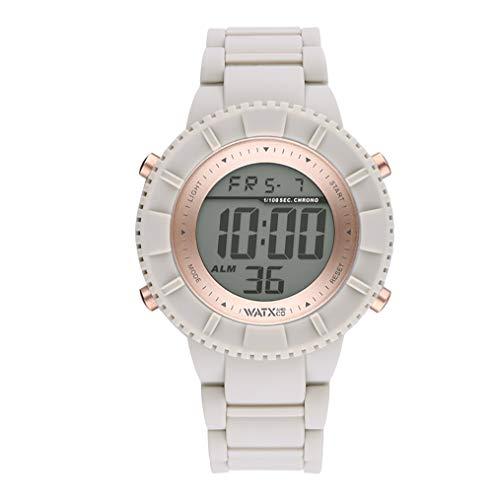 Reloj Digital para Mujer de Watx. Colección Club. Esfera Digital con Bisel en Oro Rosa y Correa de Silicona Beige. 5ATM. 43mm. Referencia Club1_M.