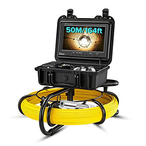 Upgraded 164ft/50m Sewer Camera, 23mm HD 720P Camera with 12pcs LED, 9' LCD Monitor with DVR, Fiberglass Cable, Rechargeable Battery, 8GB TF Card, Drain Pipe Video Inspection Plumbing Endoscope Camera