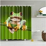 N/ Animal Decor Set de Cortinas de Ducha Cute Red Eyed Frog Art 3D Cortinas de baño 12 Ganchos 183X183CM