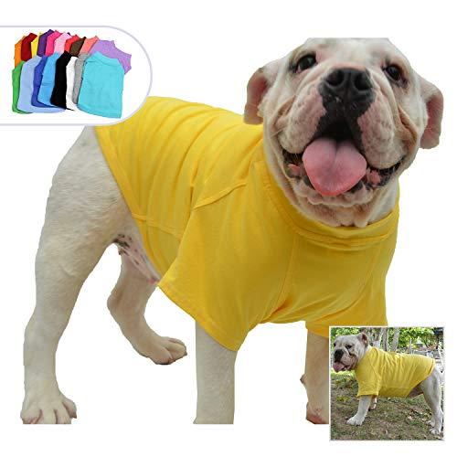Lovelonglong Bulldog Clothes Dog Clothing Blank T-Shirt Tee Shirts for French Bulldog English Bulldog American Pit Bull Pugs 100% Cotton Skin Care Yellow B-M