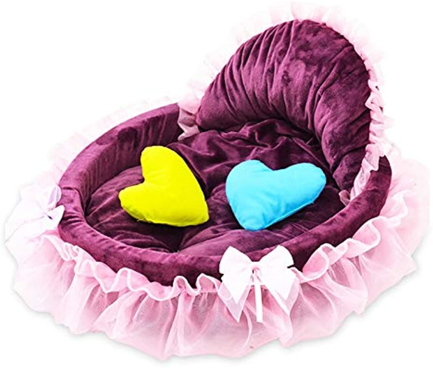 Oxltz Pet bed Pet Bed Lace Princess Pet Dog Kitten Bed Sofa Cushion Cat House Teddy Kennel Mediumsized Dog Four Seasons Universal Removable pet fusion large bed (color   Purplebig)