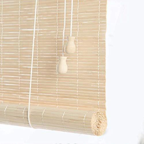 HJRD Persianas De Bambú, Retro Enrollables Estores De Bambú Persiana Enrollable A Prueba Humedad Resistentes A La Lluvia Ventilación, Tamaños múltiples, Blanco para Interiores Exteriores(60 * 135cm)