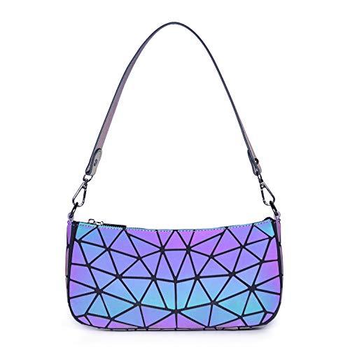 RANSUU Geometrischer Holographic Schultertasche Damen Handtaschen Tasche Leuchtender Henkeltasche Geometrisch Geschenk für Frauen BB01-01 Black
