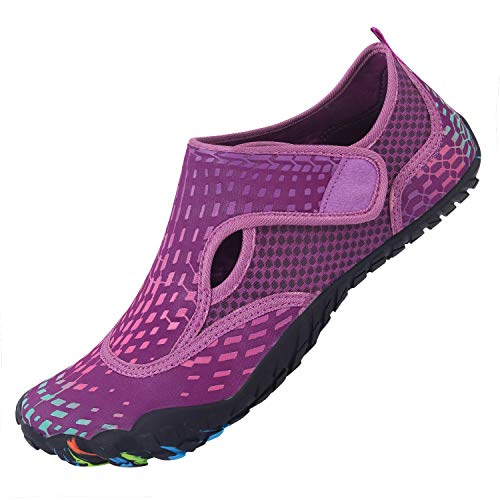 L-RUN Womens Water Sports Shoes for Surfing Walking Yoga Purple Women 9, Men 7.5 M US