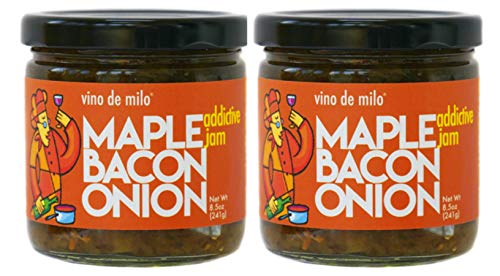 Maple Bacon Onion Jam - Vino de Milo - 8.5 oz, 2 pack - Incredibly Addictive - Gluten-Free Treat