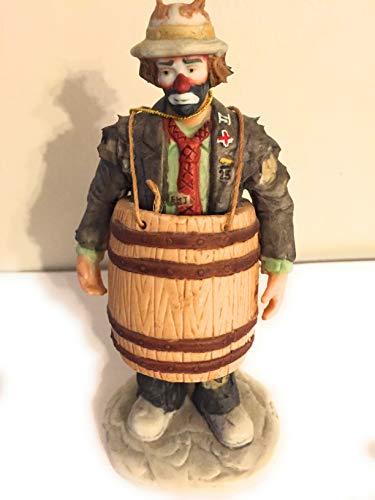 'Over A Barrel' - Limited Edition, 10 Inch Tall Porcelain Clown Figurine by Emmett Kelly Jr