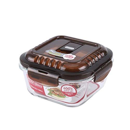 ZL-Porta alimentos Agujero de Vapor Recipiente de Vidrio Resistente al Calor Lunch Box Refrigerator Storage Box (Color : A, Tamaño : 500ml)