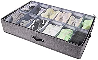 RUVINCE Shoe Organizer Shoe Storage Adjustable Dividers Fits Up to 12 Pairs Under Bed Storage Containers (1)
