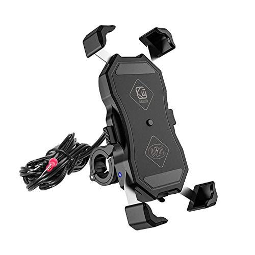 LJFZMD Soporte Motocicleta, Soporte para teléfono móvil con Carga inalámbrica de 15 W, Soporte de navegación para Motocicleta con Carga de Cable USB, Adecuado para teléfonos móviles de 4-7 Pulgadas