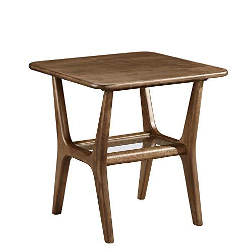 Bureau DD bijzettafel, 2-tier plank, met gehard glas planklaag, massief hout koffietafel, koffietafel, snacktafel -werkbank